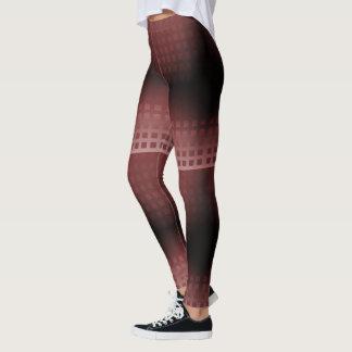 Le merlot et rougissent motif de carrés leggings