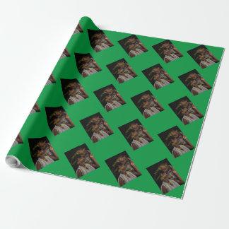 Le modèle photo vertical personnalisable papier cadeau noël