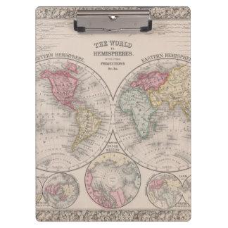 Le monde 1860 - oriental et hémisphères de l'ouest porte-bloc