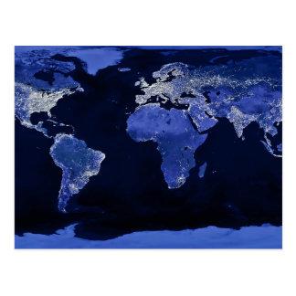 Le monde la nuit - carte, l'espace carte postale