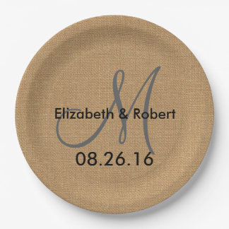 Le monogramme rustique de toile de jute de mariage assiettes en papier