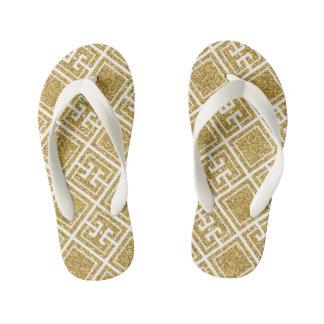 Le motif grec de scintillement d'or badine la tongs enfants