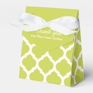 Le motif vert et blanc de treillis vous remercient ballotins de dragées