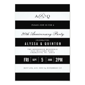 Le noir audacieux barre l'invitation de fête carton d'invitation  12,7 cm x 17,78 cm