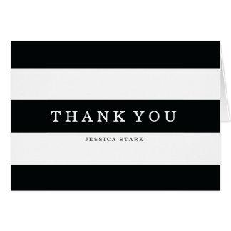 Le noir chic barre le carte de remerciements