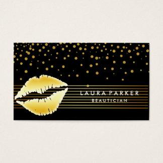 Le noir d'or de lèvres barre l'esthéticien de cartes de visite