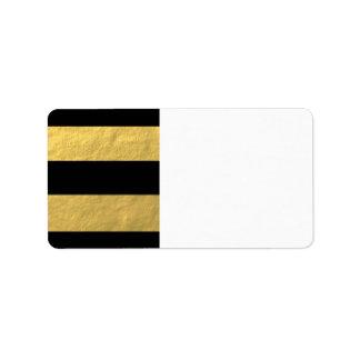 Le noir élégant barre la feuille d'or imprimée étiquette d'adresse