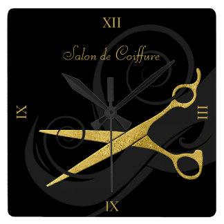 Le noir élégant courbe le salon de coiffure de horloge carrée