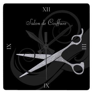 Le noir élégant courbe le salon de coiffure horloge carrée