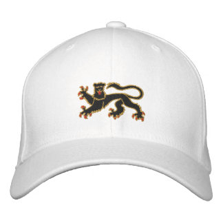 Le noir et le lion effréné d'or ont brodé le casqu casquette de baseball brodée