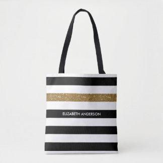 Le noir moderne barre des tape-à-l'oeil et le nom tote bag