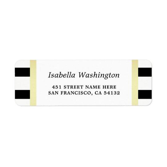 Le noir moderne barre la noce florale d'or étiquettes d'adresse retour