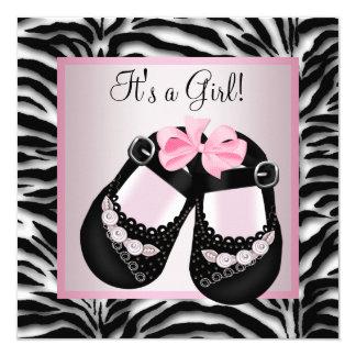 Le noir rose chausse le baby shower rose de zèbre carton d'invitation  13,33 cm