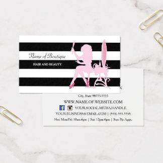 Le noir rose chic de fille de tape-à-l'oeil barre cartes de visite