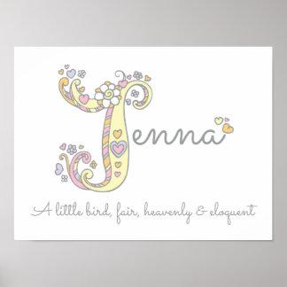Le nom et la signification de Jenna gribouillent Poster