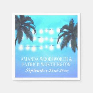 Le palmier allume des serviettes de mariage de serviette en papier