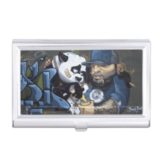 Le panda triste doux a trouvé un ami étui pour cartes de visite