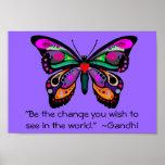 """Le papillon """"soit le changement… """" posters"""