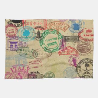 Le passeport vintage emboutit la serviette de