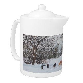 Le paysage de scène de neige d'hiver avec des