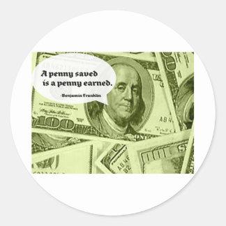 Le penny de la citation A de Ben Franklin sauvé es Autocollants