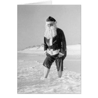 Le père noël à la carte de plage