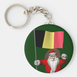 Le père noël avec le drapeau de la Belgique Porte-clés