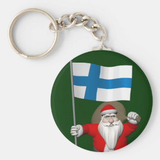 Le père noël avec le drapeau de la Finlande Porte-clés
