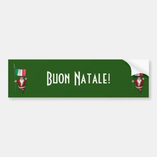 Le père noël avec le drapeau de l'Italie Autocollant De Voiture