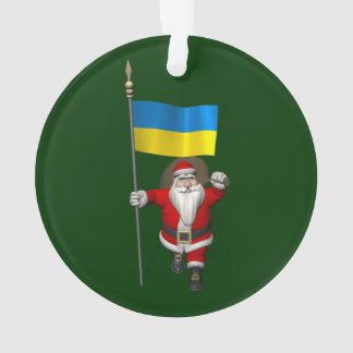 Le père noël avec le drapeau de l'Ukraine