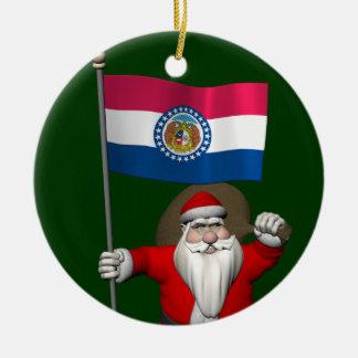 Le père noël avec le drapeau du Missouri Ornement Rond En Céramique