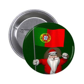 Le père noël avec le drapeau du Portugal Badge Rond 5 Cm