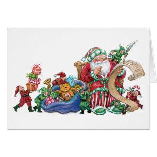 Le père noël, elfes et jouets pour la carte de