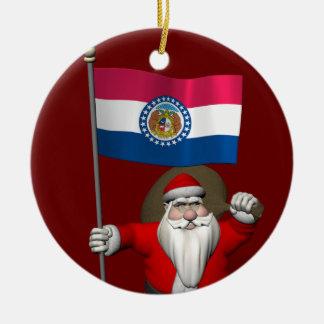 Le père noël heureux avec le drapeau du Missouri Ornement Rond En Céramique