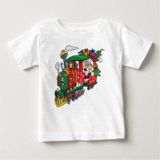 Le père noël venant à la ville sur sa locomotive t-shirt pour bébé