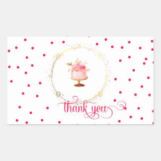 Le petit gâteau de ★ vous remercient sticker rectangulaire