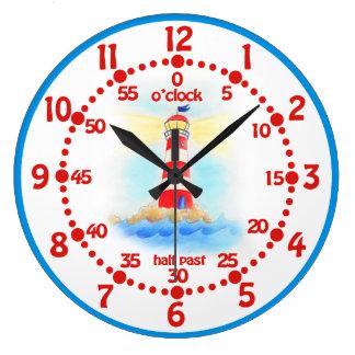 Le phare d'enfants apprennent l'horloge murale grande horloge ronde