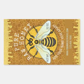 Le pot de miel d'abeille de rucher marque sticker rectangulaire