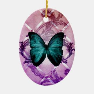Le pourpre de Flourish tourbillonne papillon Ornement Ovale En Céramique