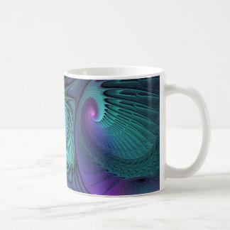 Le pourpre rencontre l'art abstrait moderne de mug blanc