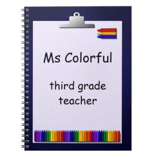 Le professeur crayonne le carnet fait sur commande