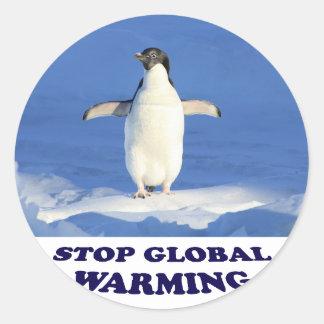 Le réchauffement climatique d'arrêt multiplient sticker rond