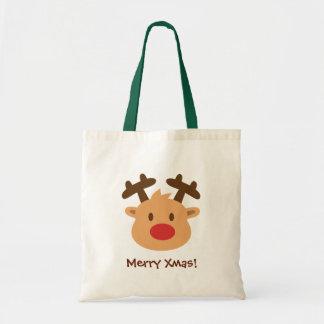 Le renne rouge mignon de nez badine le joyeux sac