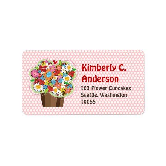Le ressort doux lunatique de petit gâteau fleurit étiquettes d'adresse