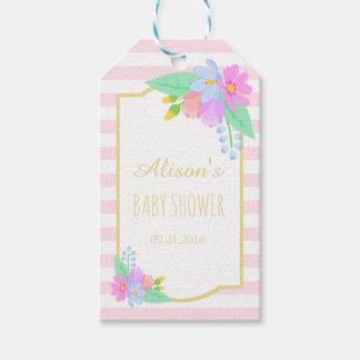 Le ressort fleurit les étiquettes roses de cadeau