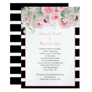 Le ressort rose d'aquarelle fleurit des carton d'invitation  12,7 cm x 17,78 cm