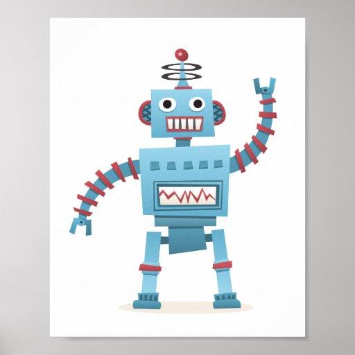 Le rétro androïde mignon de robot badine lart de posters