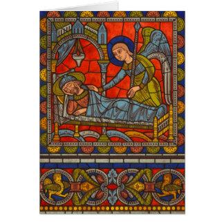 Le rêve de Joseph de carte de Noël de fenêtre en