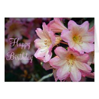 Le rhododendron rose fleurit la carte de voeux
