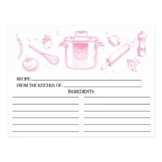 Le rose a esquissé des cartes de recette d'outils